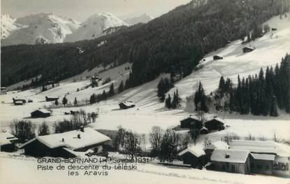 """CPSM FRANCE 74 """" Le Grand Bornand, Piste de descente du téléski""""."""