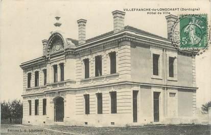 """CPA FRANCE 24 """" Villefranche de Longchapt, Hôtel de Ville""""."""