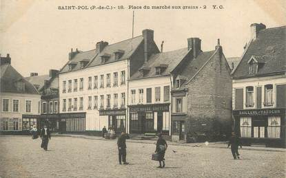 "CPA FRANCE 62 "" St Pol, Place du marché aux grains""."