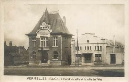 """CPSM FRANCE 62 """" Vermelles, L'Hôtel de Vile et la salle des fêtes""""."""