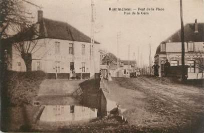 """CPA FRANCE 62 """"Ruminghem, Pont de la place rue de la gare""""."""