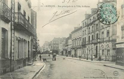 """CPA FRANCE 61 """" Alençon, Rue principale de la ville, St Blaise""""."""