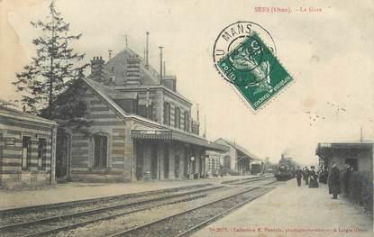 """CPA FRANCE 61 """" Sees, La gare""""."""