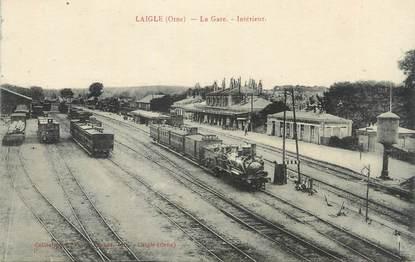 """CPA FRANCE 61 """"L'Aigle, Intérieur de la gare"""". / TRAINS"""