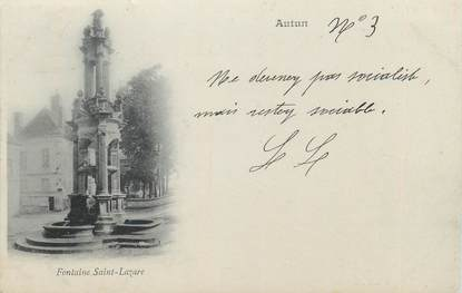 """CPA FRANCE 71 """" Autun, Fontaine St Lazare""""."""