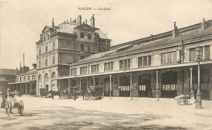 """CPA FRANCE 71 """" Macon, La gare""""."""