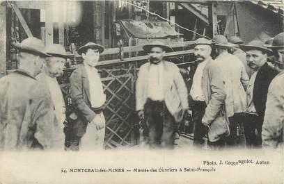 """CPA FRANCE 71 """" Montceau les Mines, Montée des ouvriers à St François""""."""