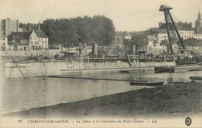 """CPA FRANCE 71 """" Chalon sur Saône, La Saône et les chantiers du Petits Creusot""""."""