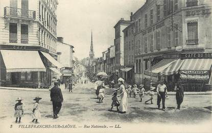 """CPA FRANCE 69 """" Villefranche, Rue Nationale""""."""