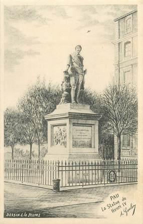 """CPA FRANCE 64 """"Pau, La Statue de Henri IV""""."""