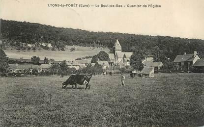 """CPA FRANCE 27 """" Lyons la Forêt, Le Bout de Bas, Quartier de l'église""""."""
