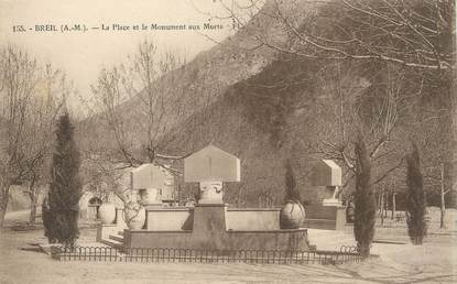 """CPA FRANCE 06 ' Breil, La place et le monument aux morts""""."""