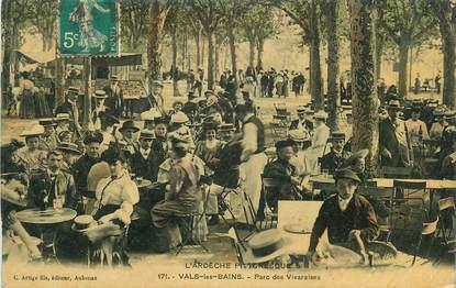 """CPA FRANCE 07 """"Vals les Bains, Le parc des Vivaraises""""."""