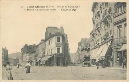 """CPA FRANCE 42 """" St Etienne, Rue de la République et avenue du Président Faure""""."""