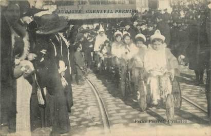 """CPA FRANCE 13 """"Aubagne, Le carnaval, les petits pierrots cyclistes'."""