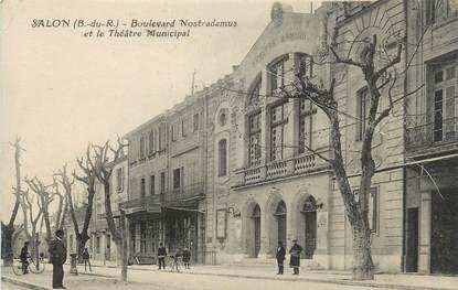 """CPA FRANCE 13 """"Salon, Boulevard Nostradamus et le Théâtre Municipal""""."""