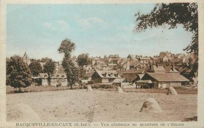 """CPA FRANCE 76 """"Bacqueville en Caux, Vue générale du quartier de l'église""""."""