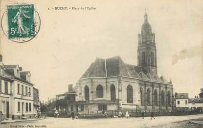"""CPA FRANCE 76 """"Buchy, Place de l'église""""."""