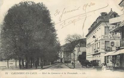 """CPA FRANCE 76 """" Caudebec en caux, Hôtel du Commerce et la promenade""""."""