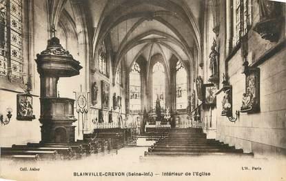 """CPA FRANCE 76 """" Blainville - Crevon, Intérieur de l'église""""."""