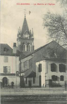 """CPA FRANCE 65 '' Vic - Bigorre, La Mairie et l'église""""."""