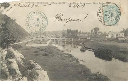 """CPA FRANCE 25 """"Voujaucourt, Les usines de Laroche et la Route de Montbéliard""""."""