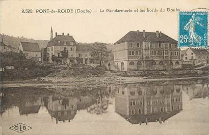 """CPA FRANCE 25 """"Pont de Roide, La Gendarmerie et les bords du Doubs""""."""
