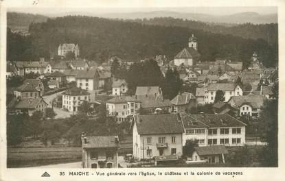 """CPA FRANCE 25 """"Maiche, Vue générale vers l'église, le château et la colonie de vacances""""."""