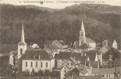 """CPA FRANCE 25 """"Hérimoncourt, Le temple et l'église catholique""""."""
