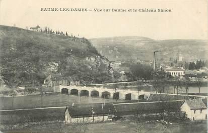 """CPA FRANCE 25 """"Baume les Dames, Vue sur Baume et le château Simon""""."""