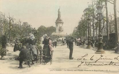 """CPA FRANCE 75011 """"Paris, Le marché aux fleurs; Place de la République"""""""