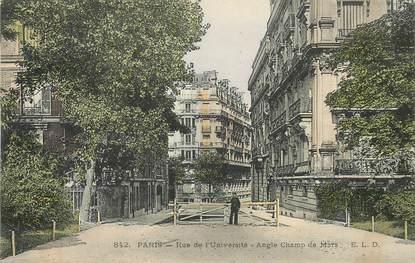 """CPA FRANCE 75007 """"Paris, rue de l'Université, angle Champ de Mars"""""""