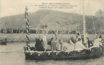 """CPA FRANCE 14 """" Port en Bessin, Bénédiction de la mer par Monseigneur Lemonnier""""."""