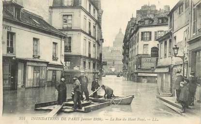 """CPA FRANCE 75005 """"Paris, 1910, Inondations, La rue du Haut Pavé"""""""
