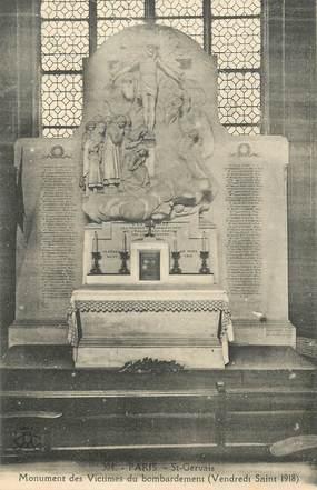 """CPA FRANCE 75004 """"Paris, Saint Gervais, monument des Victimes du bombardement"""""""