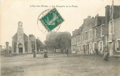 """CPA FRANCE 14 """" Littry les Mines, La chapelle et la Poste""""."""
