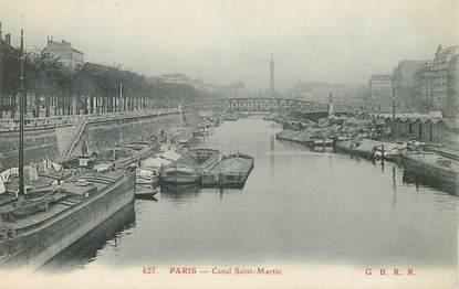 """CPA FRANCE 75010 """"Paris, le Canal Saint Martin"""" / PENICHE / BARELLERIE"""