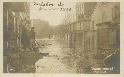 "CPA FRANCE 75019 ""Paris, Inondations de 1910, Rue Gros"""