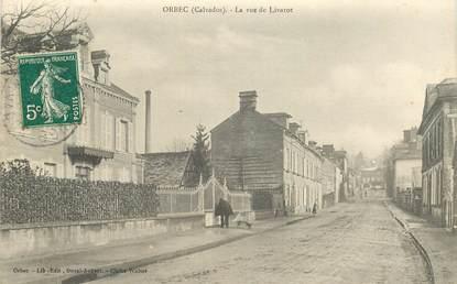"""CPA FRANCE 14 """"Orbec, la rue de Livarot"""""""