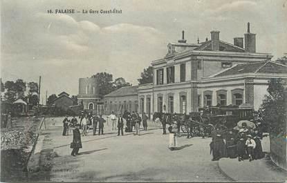 """CPA FRANCE 14 """"Falaise, La gare Ouest Etat""""."""