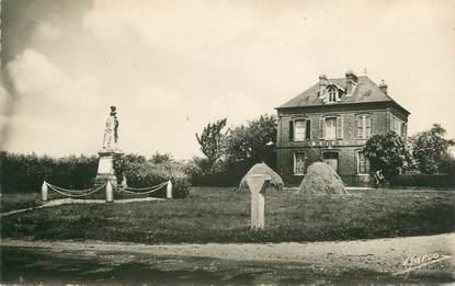 """CPSM FRANCE 27 """" Rougemontiers, La Mairie et le Monument aux Morts""""."""