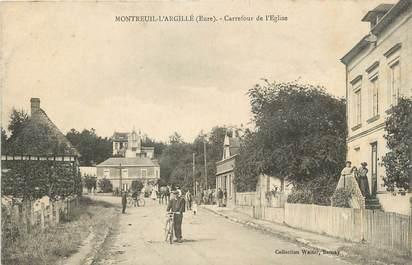 """CPA FRANCE 27 """"Montreuil-L'Argillé, Carrefour de l'église""""."""