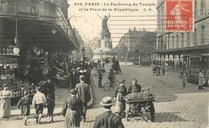 """CPA FRANCE 75003 """"Paris, le Faubourg du Temple et Place de la République"""""""