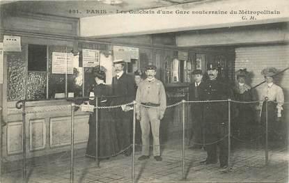 """CPA FRANCE 75003 """"Paris, les guichets d'une gare de métro"""""""