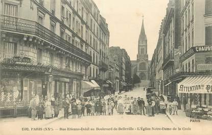 """CPA FRANCE 75020 """"Paris, Rue Etienne Dolet au Bld de Belleville"""""""