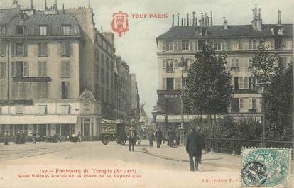"""CPA FRANCE 75010 """"Paris, le Faubourg du Temple, Quai Valmy"""""""
