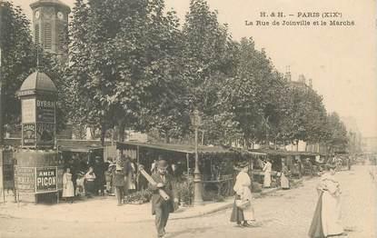 """CPA FRANCE 75019 """"Paris, la Rue de Joinville et le Marché"""""""