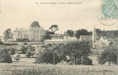 """CPA FRANCE 27 """"Louye, Château et église""""."""