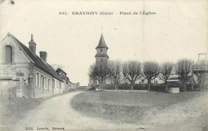 """CPA FRANCE 27 """"Gravigny, Place de l""""église""""."""