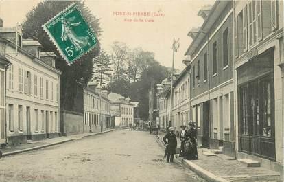 """CPA FRANCE 27 """"Pont St Pierre, Rue de la gare""""."""